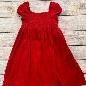 Ralph Lauren Red Smocked Corduroy Dress
